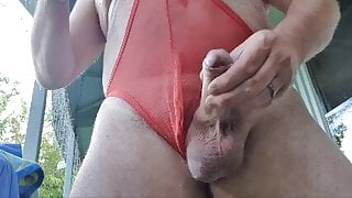 Horny Red Mesh Thong Play