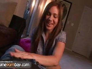 Teen jerking video - Redhead amateur teen jerking my dick