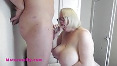 Huge tits Mature Sally turns a soft cock hard