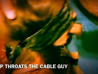 The cable guys porn Whore moan deepthroating the cable guy and swallows his load