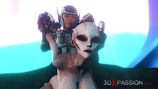 Female alien fucked hard by sci-fi explorer on the exoplanet