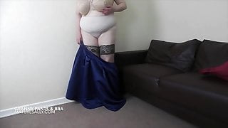 Sally just loves to remove her granny pants and bra