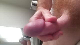 Close up rock hard ginger cock