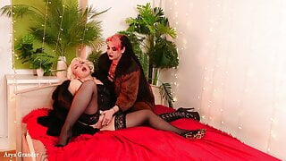 Two kinky MILFs in furs and stockings playing roleplay games