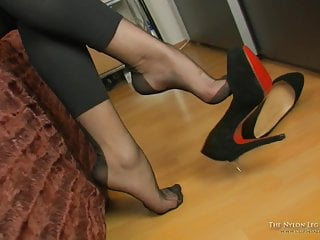Tit dangling - Mystery dangling in black fully fashioned nylons