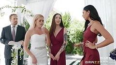 Kinky Bridesmaid calms down groom with hard sex