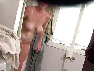 Big tits flashing clips Blonde with super big tits after shower-spy cam clip