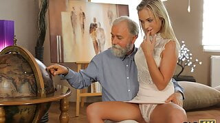 OLD4K. Nymph rewards old teacher for help by tempting him