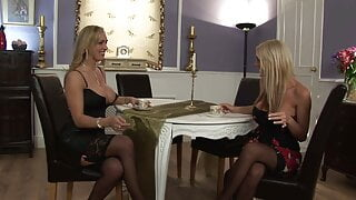 Sexy blonde in red lingerie wants the decorator guy to fuck