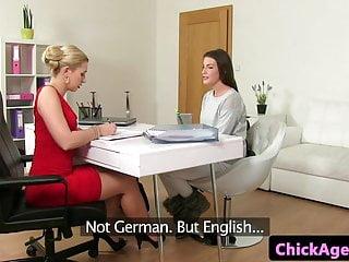 Lesbians finger fuck in shower videos - Classy casting lesbians finger fuck in office