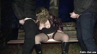 Dogging slut Jessica creampied by strangers