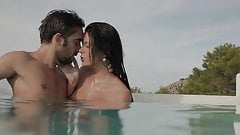 Hot couple having sex in pool