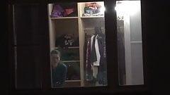 Cute Teen strips in bedroom window for me P1