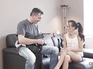 Tiffany teen tight Old4k. dad puts guitar aside and takes care of tina walker