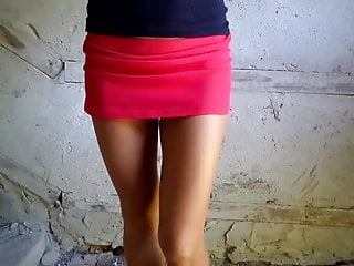 Red crescent shape under breast - Red panties under the red mini skirt, climb the stairs
