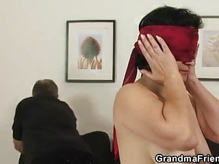 Nasty old granny sex Nasty granny enjoys fucking two cocks