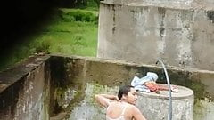 Desi teen takes nude bath outdoors 1