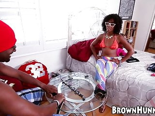 Upolstry nail strips Wicked ebony chick nailed hard after playing strip dominos