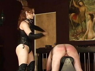 Bbw leather lingerie Sexy mistress in leather whips a dude