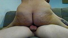 Amateur Big Ass Latina Rides Big White Cock Messy Creampie