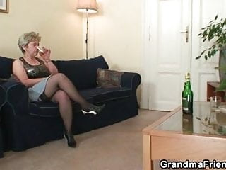 Two cocks at once - Horny granny takes two cocks at once