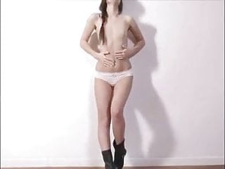 Flat chested sexy legs Sexy flat chested babe playing with her tight pussy
