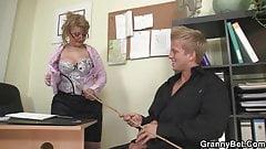 Hot mature boss in white stockings rides big dick