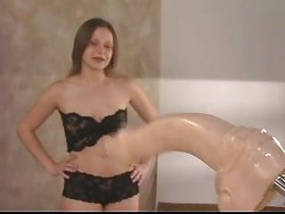 Trannny fucked by dildo machines - Sexy young brunette gets her pussy fucked by dildo machine and her butt plugged