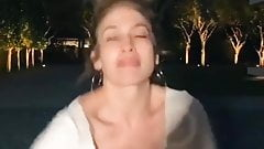 Jennifer Lopez showing cleavage as she dances