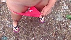 Public pickup and cum inside the girl outdoors   Cum Panties
