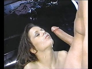Fishnets over pantyhose - Large cock explodes all over pantyhose girl