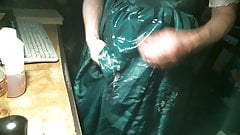 green tafetta gown