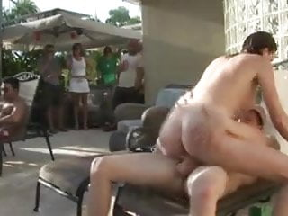 Public group hardcore sex - Orgy by the pool part 2
