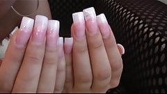 amazing long french nails show