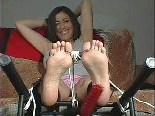 Spank ankle cuffs Tickley t00tsies in toe cuffs