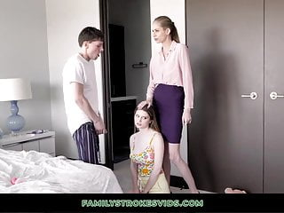 Russian teens horny - Horny teen fucks stepbrother while mom instructs