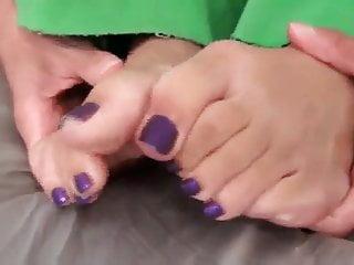 Girl licking cum off a clit - Karas foot tease and licking cum off her feet
