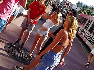 Cut off shorts lesbian Candid voyeur hot in cut off shorts wedge heels blonde