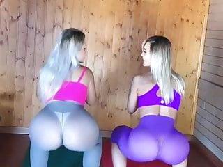 Leg sex com Loiras gostosas com legging transparente