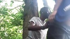White Redneck Barebacks Black in the Woods - 7min
