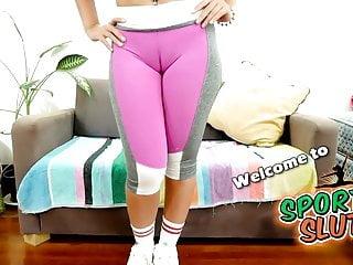 Blonde busty latina Busty latina slut shows huge cameltoe in tight leggings