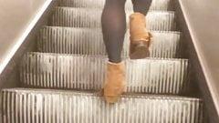French Teen in pantyhose subway escalator voyeur