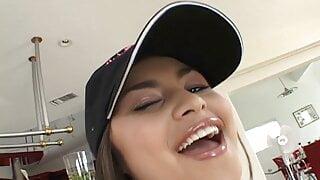 Asian teen stunner Michelle Maylene receives a huge facial