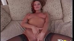 Busty brunette fuck her tight pussy with a big dildo