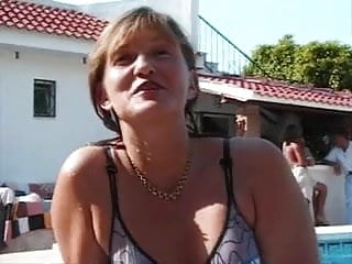 Wet mature seniors - Senior threesome near thepool