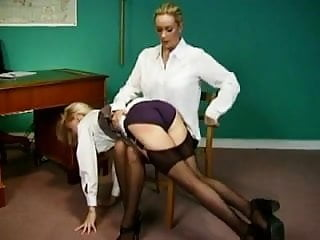 Spanked over pink panties - Secretary spanked over the knee in stockings by female boss