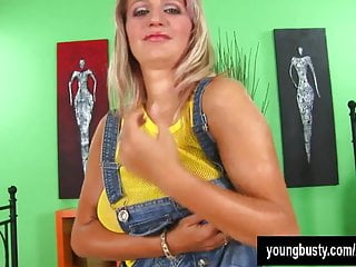 Large and busty Busty young darina fucking a large dildo