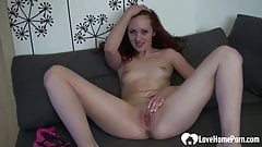 Naughty babe strips her clothes and masturbates