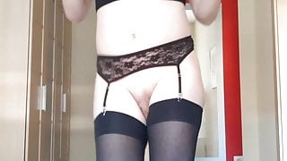 Slutty StacySexlips cums with new latex mask and stockings!