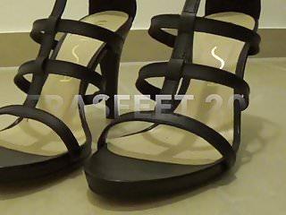 High heel stocking thumb Footjob in high heel black stockings